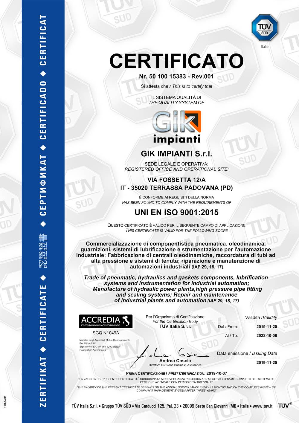 Gik Impianti ha ottenuto la certificazione UNI EN ISO 9001:2015